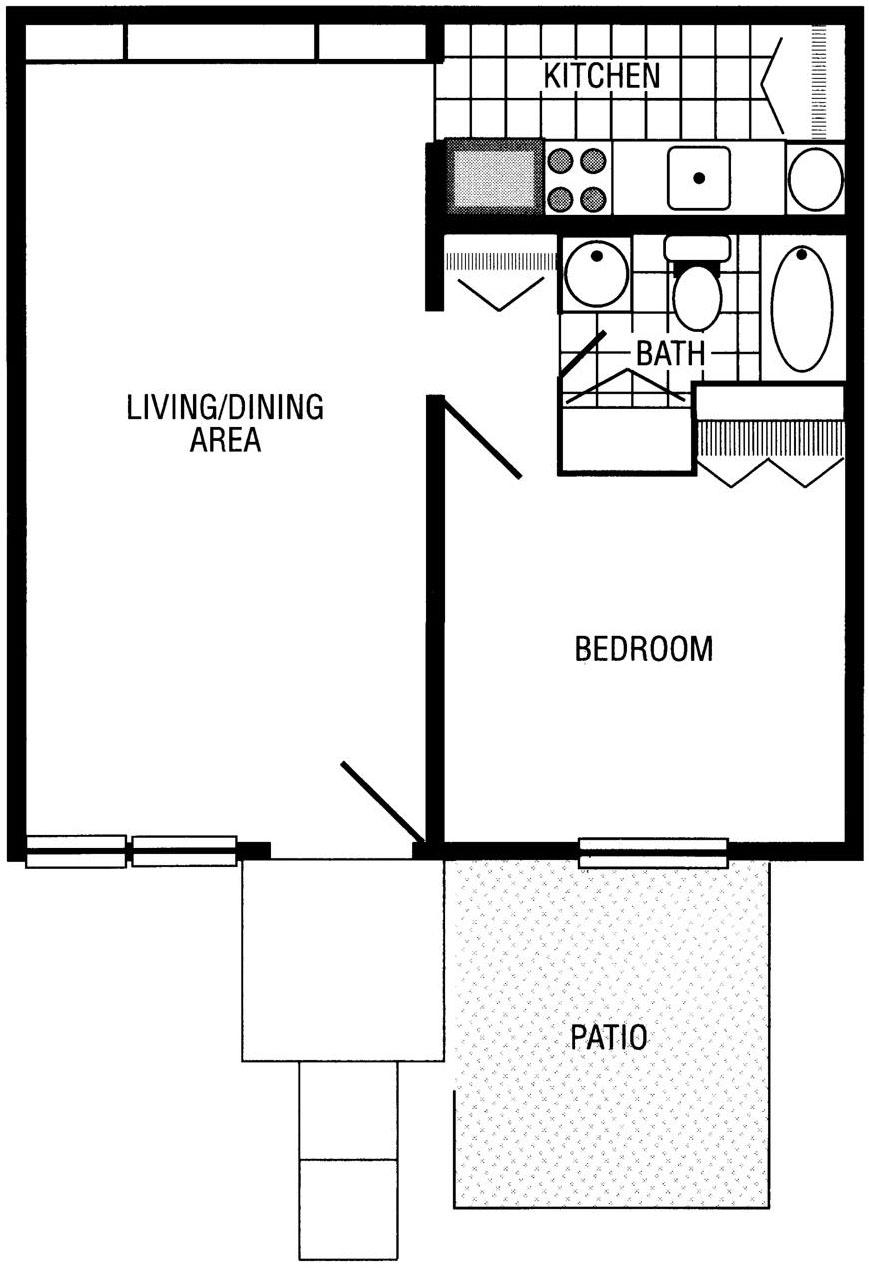 Cardinal 1 bdrm floor plan